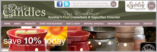 Dini's Candles - Scentsy's First Consultant, SuperStar Director Dini Moorhouse